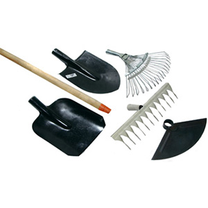 Лопати, граблі, мітли